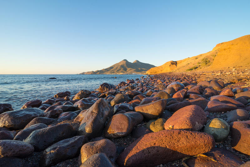 Cabo de Gata shore at sunrise stock photography