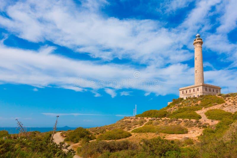 Cabo DE Palos de vuurtoren brengt dichtbij Menor Spanje in de war stock foto