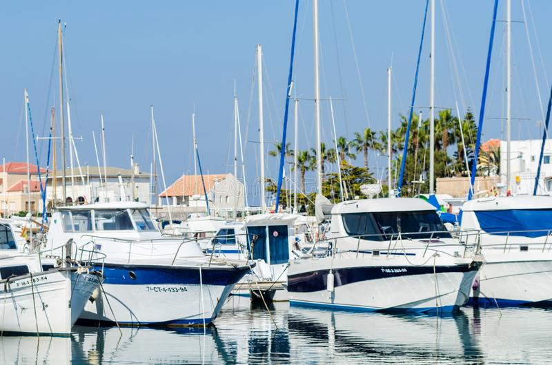 CABO DE PALOS, SPAIN - FEBRUARY 8, 2019 Luxury boats in marina bay Cabo de Palos, Costa Calida, Spain royalty free stock image