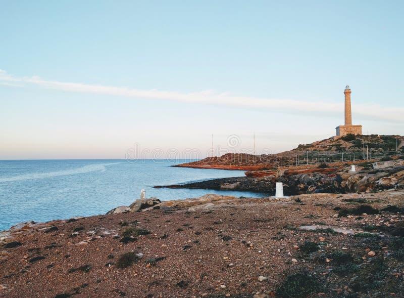 Cabo DE Palos vuurtoren in La Manga del Mar Menor spanje stock foto's