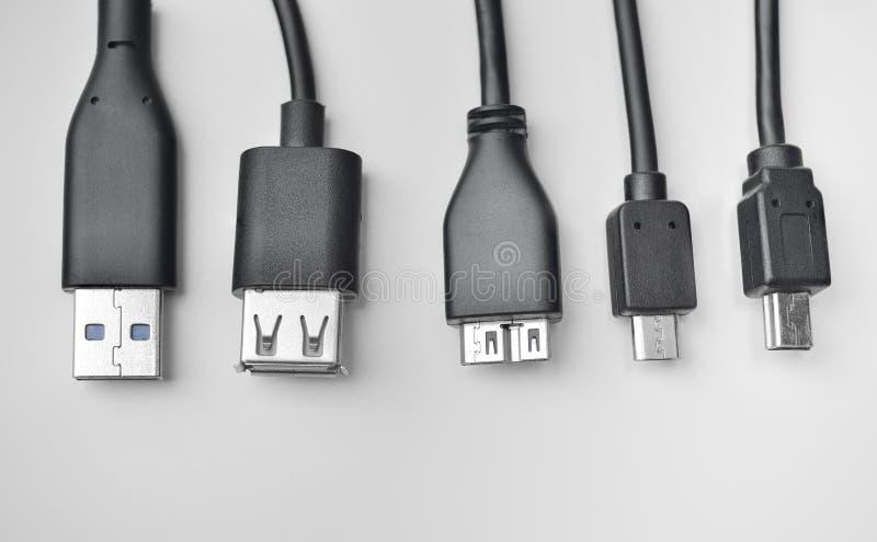 Cabo de USB, de mini-USB e de micro-USB fotos de stock royalty free
