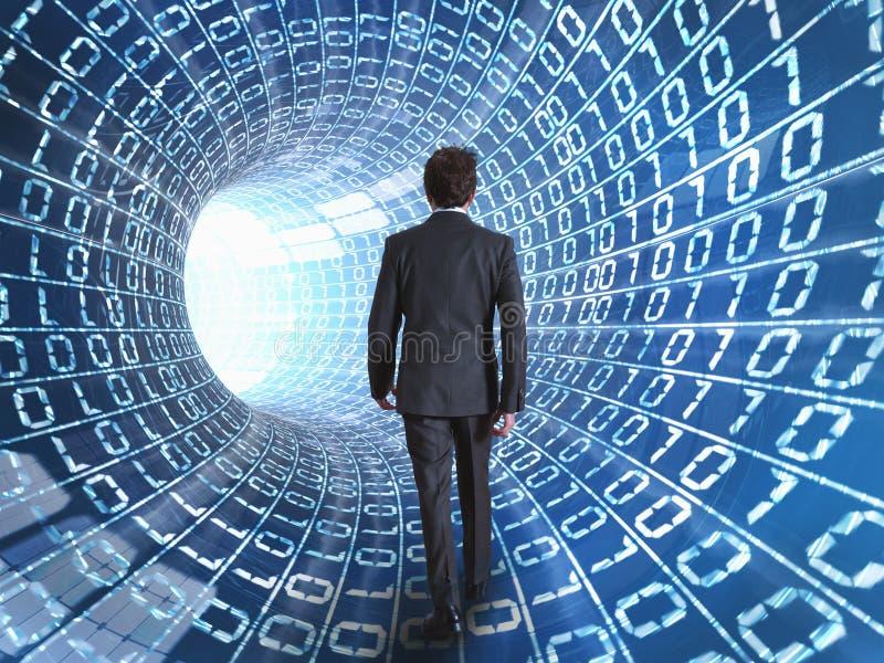 Cabo do homem de negócios e do Internet