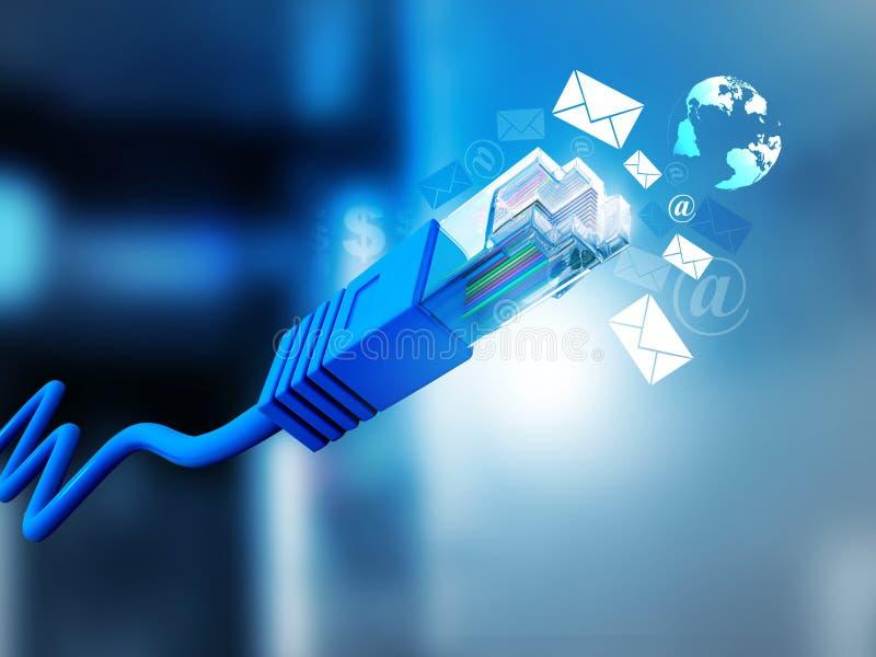 Cabo do Internet com símbolos do email ilustração stock