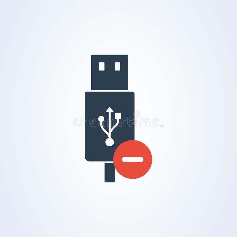 Cabo do usb do ícone do vetor cabo do usb do flash da supressão informação de advertência ilustração stock