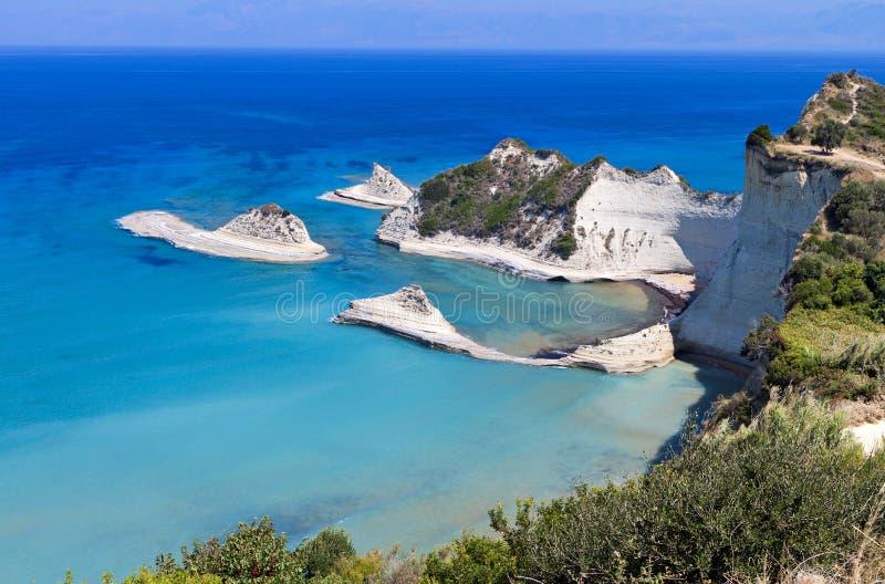 Cabo Drastis en la isla de Corfú, Grecia foto de archivo libre de regalías