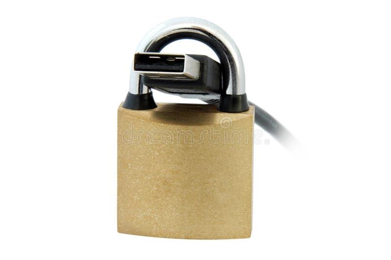 Cabo e cadeado do USB fotos de stock royalty free