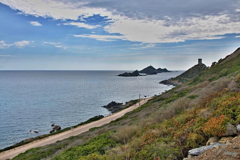 Cabo e islas Iles Sanguinaires de Córcega-Parata fotografía de archivo