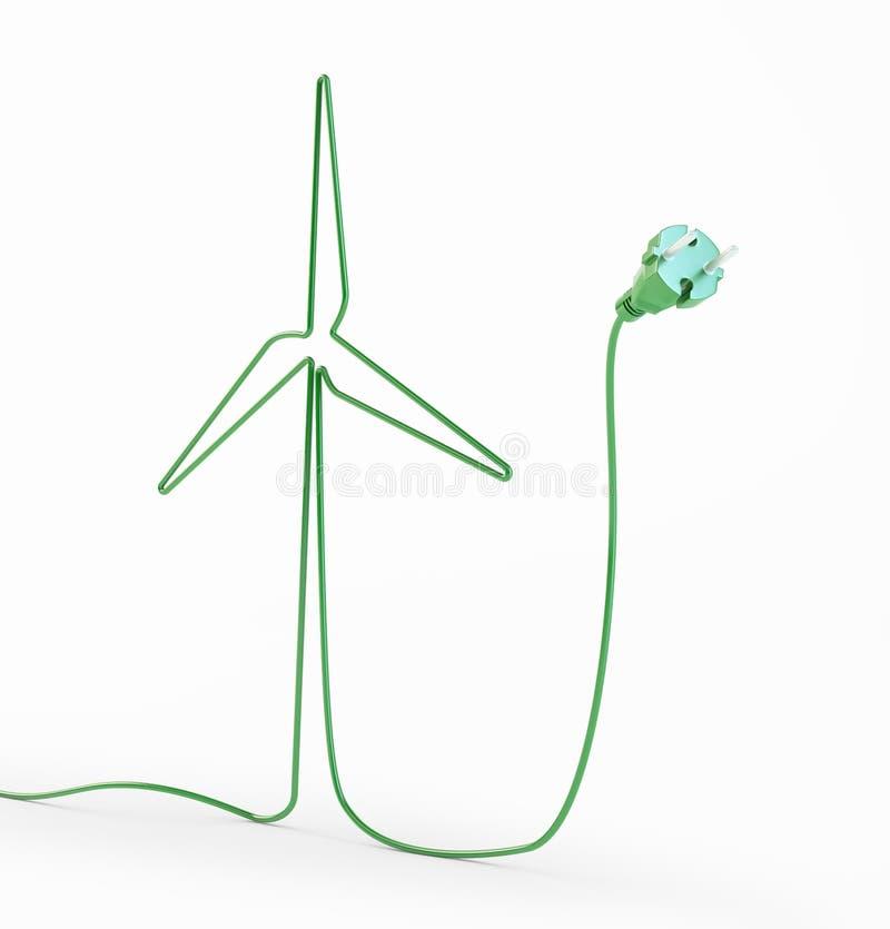 Cabo elétrico dado forma moinho de vento ilustração royalty free