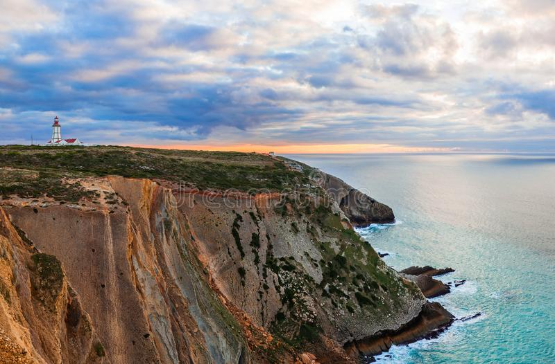 The Cabo Espichel Cape, with the 18th century lighthouse royalty free stock photos