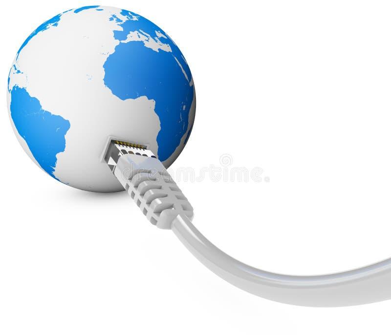 Cabo ethernet, conexão a Internet, largura de banda O mundo na Web Conexões do mundo, globo imagens de stock royalty free