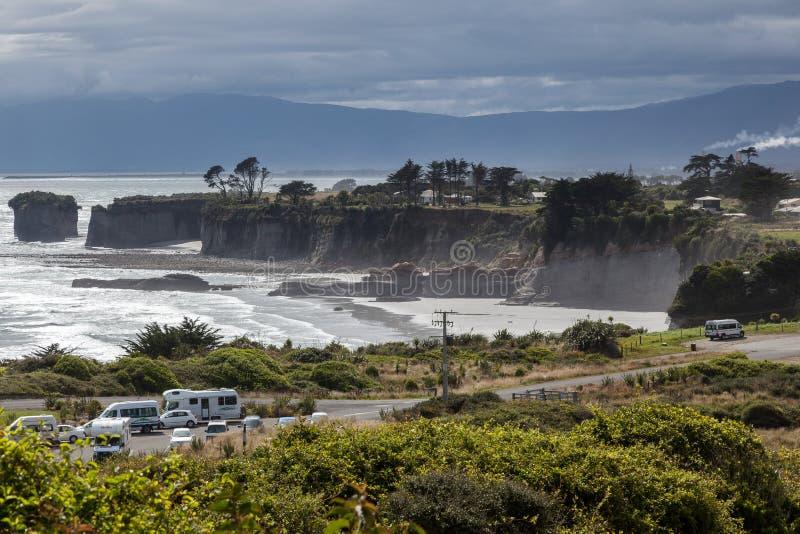 CABO FOULWIND, NOVA ZELÂNDIA - 14 DE FEVEREIRO: Vista do cabo Foulwind imagens de stock royalty free
