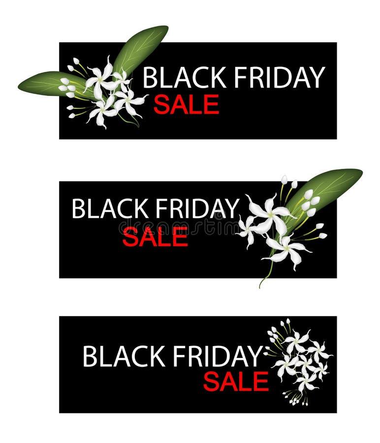 Cabo Jasmine Flowers en bandera de la venta de Black Friday stock de ilustración