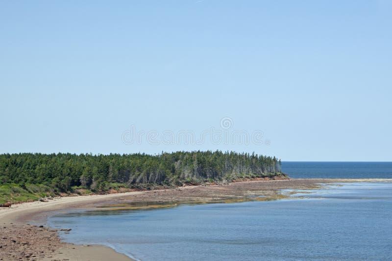 Cabo Jourimain con la playa del océano imagen de archivo