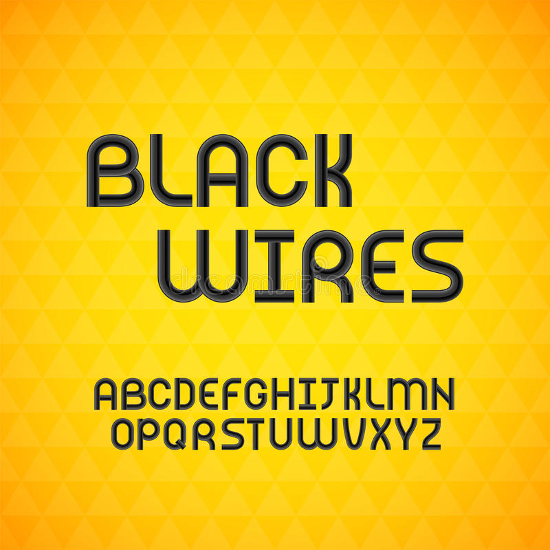 Cabo ondulado prendido, alfabeto preto do contorno ilustração stock