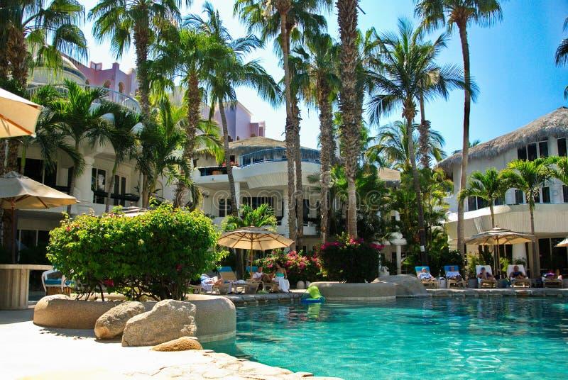 Cabo piscine de station de vacances de San Lucas, Mexique photos stock