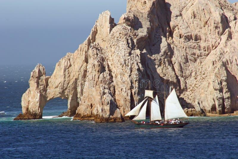 Cabo Rocks and Sailboat stock image