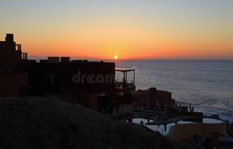 Cabo San Lucas Club Regina au coucher du soleil photo libre de droits