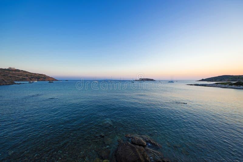 Cabo Sounio no crepúsculo foto de stock
