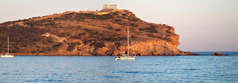 Cabo Sounion, el templo de Poseidon, Atica, Grecia fotos de archivo
