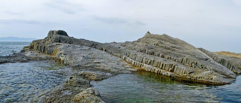 Cabo Stolbchatyy, Kurily, Kunashir, Rusia fotografía de archivo libre de regalías
