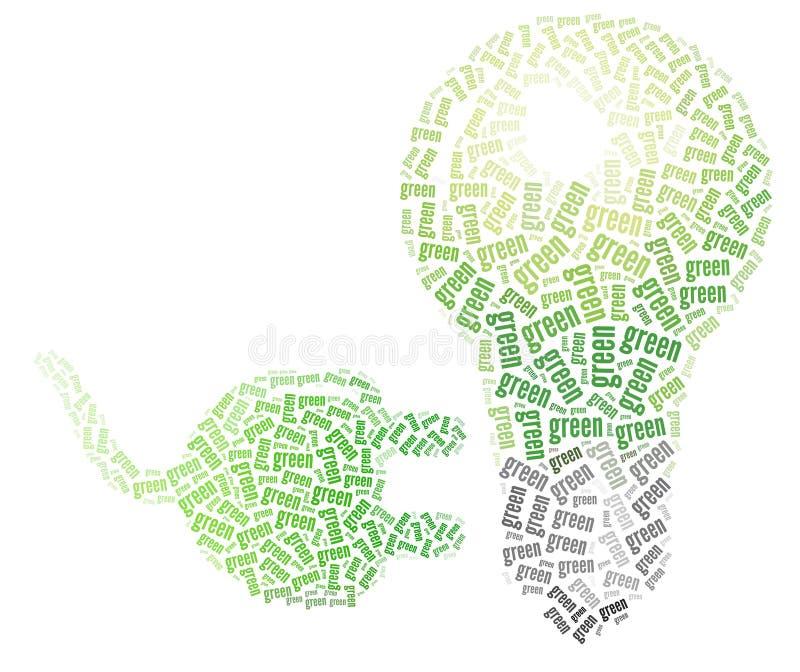 Cabo verde do bulbo e de potência ilustração stock