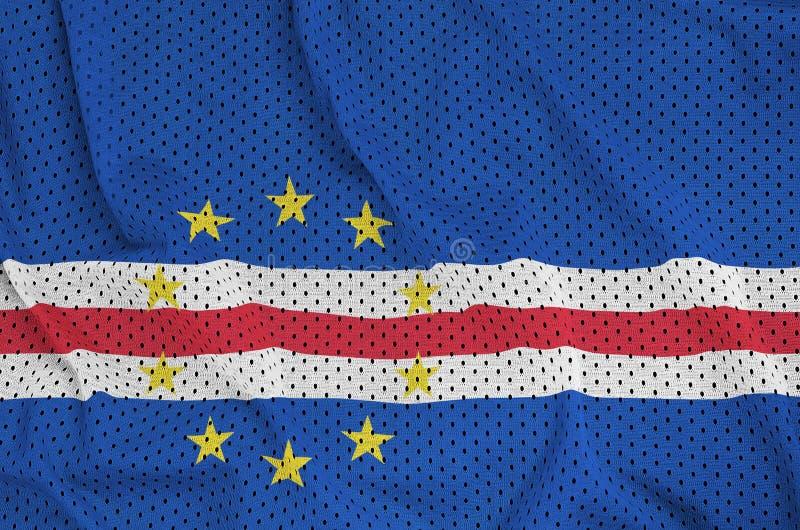 Cabo Verde flagga som skrivs ut på ett fab ingrepp för polyesternylonsportswear arkivbilder