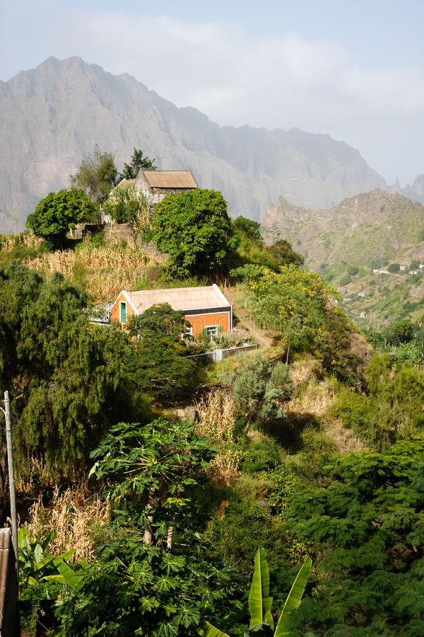 Cabo Verde village houses in mountains Santo Antao landscape stock image