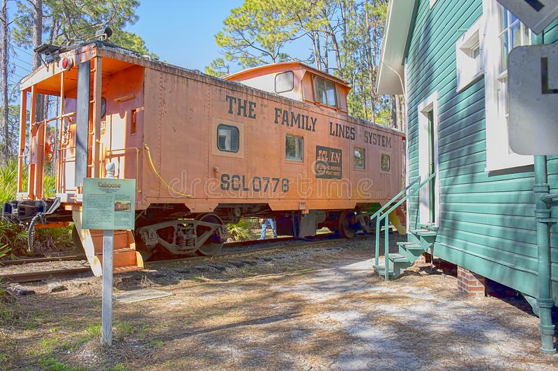 Caboose Train, Locomotive From The Family Lines System. A caboose train, locomotive from the Family Lines System, is preserved at the Heritage Village in Largo royalty free stock photos