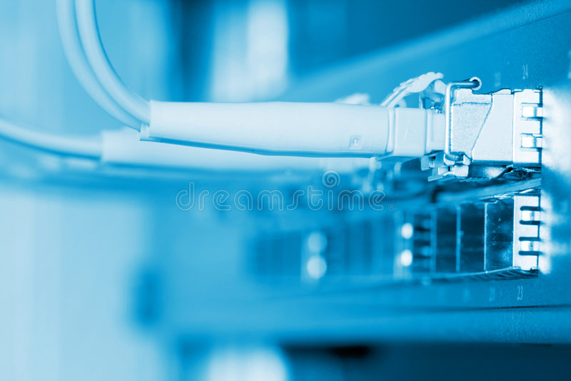 Cabos óticos da fibra conectados a um interruptor imagem de stock