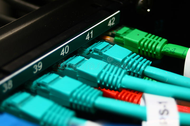 Cabos de Ethernet vermelhos, verdes e azuis imagens de stock