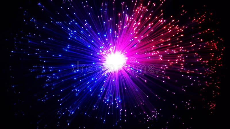 Cabos de fibra ótica coloridos com pontas de brilho foto de stock