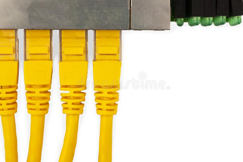 4 cabos de remendo amarelos de UTP conectaram no interruptor dos ethernet, com a vista superior imagem de stock royalty free