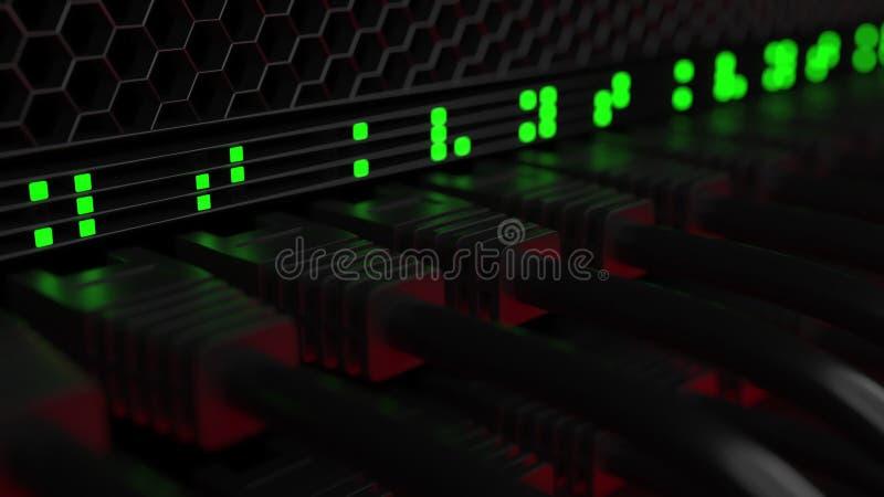 Cabos do servidor e lâmpadas piscar Tecnologia da nuvem ou conceitos modernos do equipamento de rede corporativa rendição 3d fotos de stock