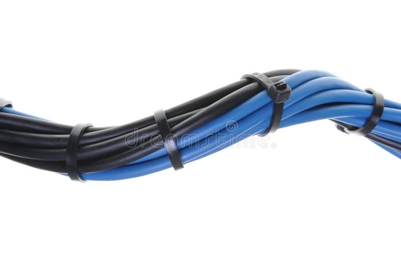 Cabos elétricos azuis e pretos fotografia de stock