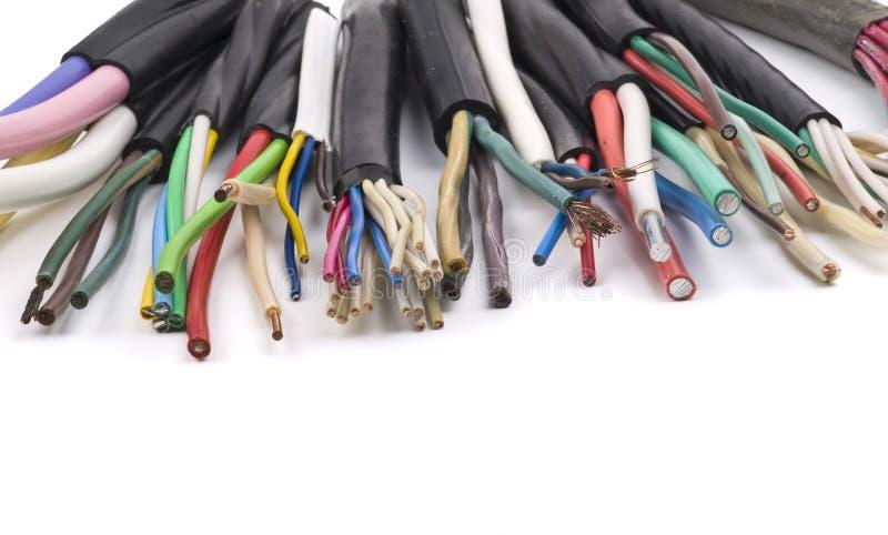 Cabos elétricos diferentes fotografia de stock