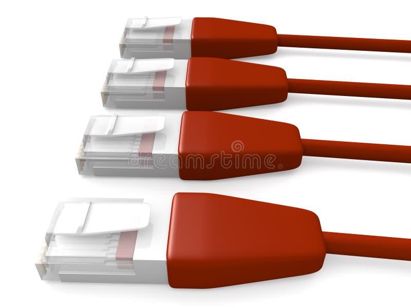 Cabos vermelhos 2 da rede ilustração stock