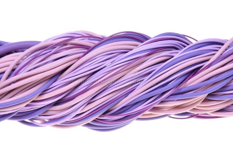 Cabos violetas torcidos do computador de rede foto de stock royalty free