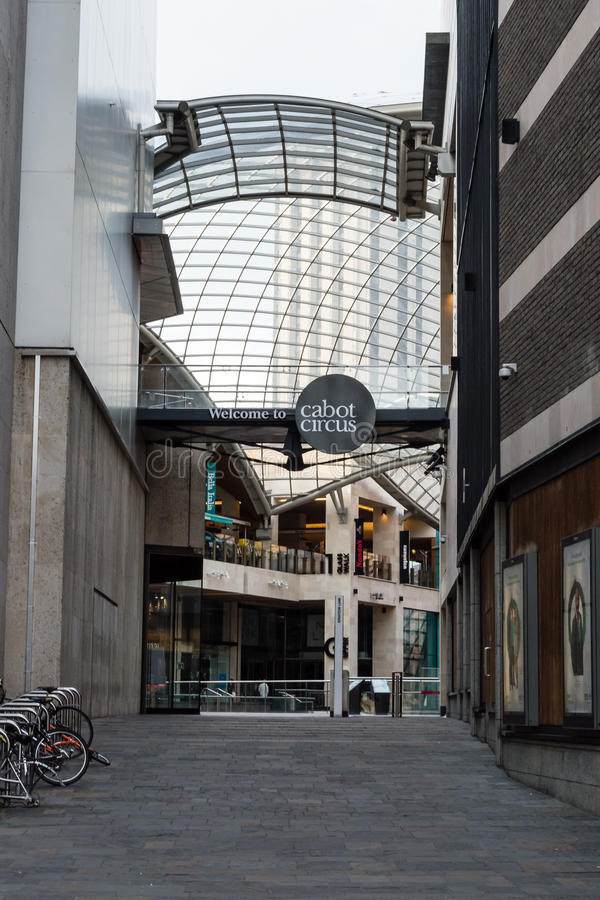 Cabot Circus entrance from Bond St, Bristol. ENGLAND, BRISTOL - 13 SEP 2015: Cabot Circus entrance from Bond St stock image