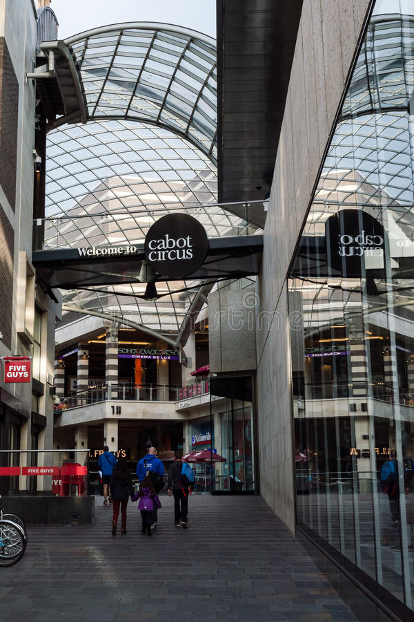 Cabot Circus entrance from Temple Way Bristol. ENGLAND, BRISTOL - 13 SEP 2015: Cabot Circus entrance from Temple Way stock photography