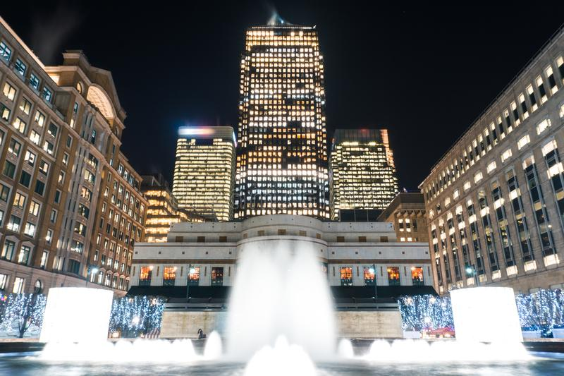 Cabot Square at night. In Canary Wharf stock images