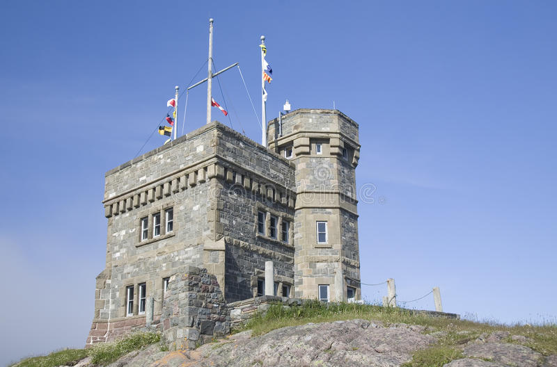 Cabot Tower. Is a focal point overlooking the city of St. John's, Newfoundland. It was built on Signal Hill in 1897 to commemorate the 400th anniversary of the stock photography