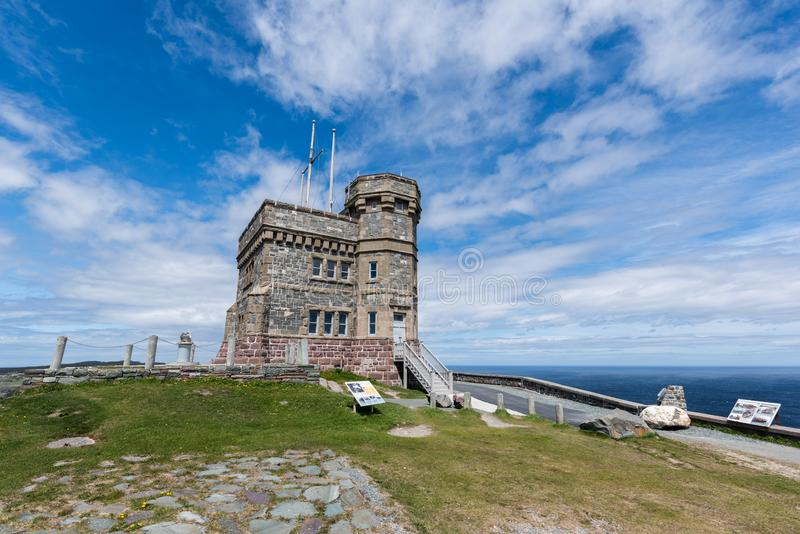 Cabot Tower on Signal Hill, St. John`s, Newfoundland. The Cabot Tower overlooks the harbor of St John`s, Newfoundland. Historically this tower defended the coast royalty free stock photos