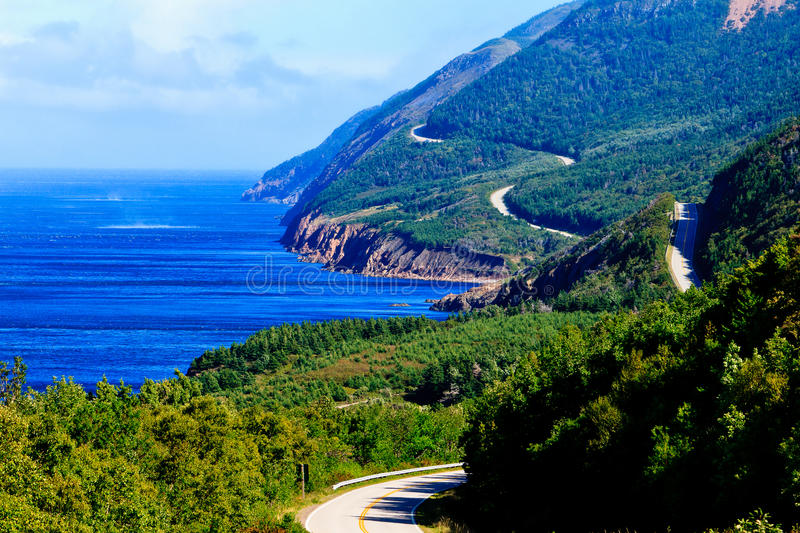 Cabot Trail Highway. Cabot Trail in Cape Breton Highlands National Park. This scene was captured on the southeast side of the park, not too far north of stock photography