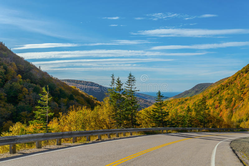 Cabot Trail Highway. Cape Breton, Nova Scotia, Canada royalty free stock image