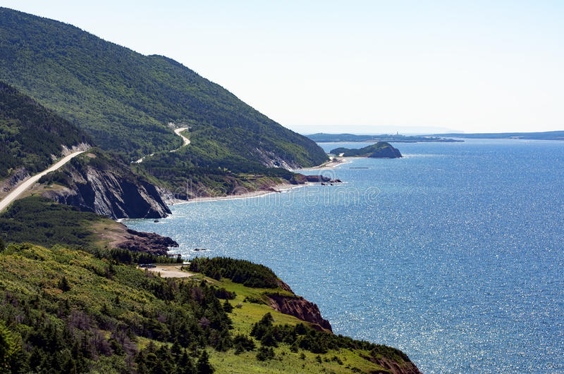 Cabot Trail. The world famous Cabot Trail on the Atlantic Ocean in Cape Breton, Nova Scotia, Canada stock photos