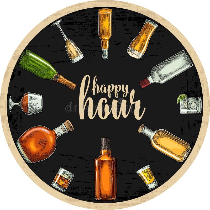 Caboteur avec la bouteille et le verre avec de la bière, whiskey, tequila, cognac, rhum illustration libre de droits