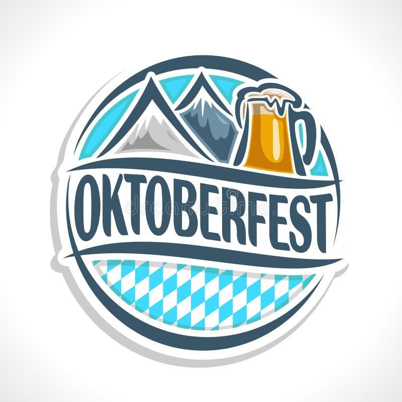 Caboteur de bière de logo de vecteur oktoberfest illustration stock