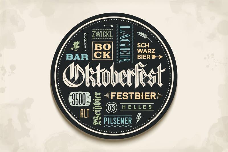 Caboteur de boisson avec le lettrage pour le festival de bière d'Oktoberfest illustration de vecteur