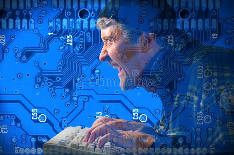 Cabouqueiro de computador que rouba sua informação fotografia de stock