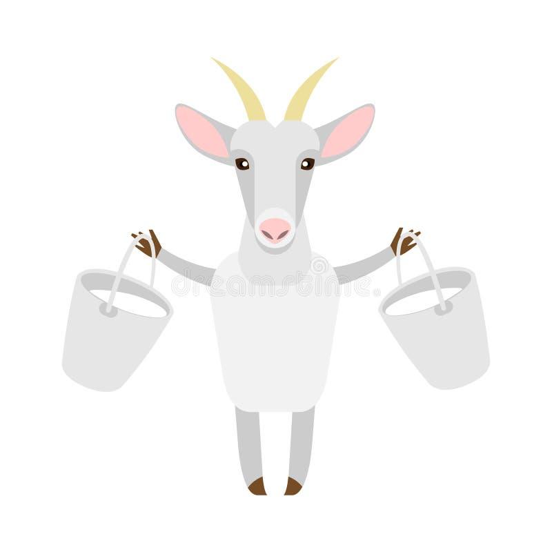 Cabra con leche ilustración del vector